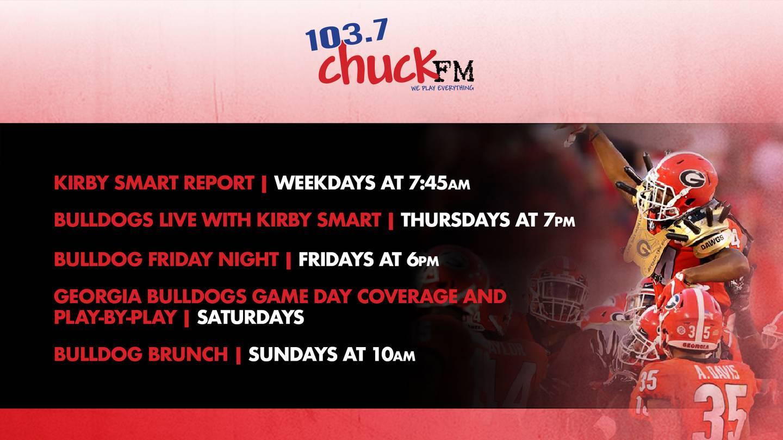 HOW TO LISTEN: Georgia Bulldogs on 103.7 Chuck FM